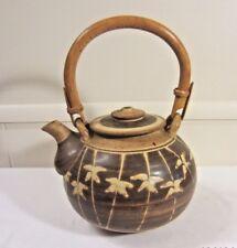 Vintage Studio Art Pottery Teapot Stoneware Bamboo Handle Brown Glazed w Flowers