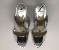 Brian Atwood 90's Vintage Inspired Silver Strappy Stilleto Mule Slides size 9.5