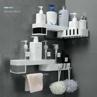 Traceless Plastic Bathroom Kitchen Corner Storage Rack Organizer Shower Shelf BC