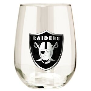 NFL Oakland Raiders 15oz Stemless Wine Glass with Metal Emblem