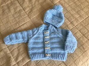 Boys Baby Blue Chunky Cardigan And Hat Set Hand Knitted Age 6-12 Months