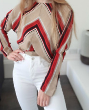 Sweewe Paris Striped Red Beige Top Blouse Size M/L
