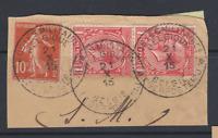 AFFRANCHISSEMENT MIXTE FRANCE BELGIQUE OB BELGE POSTE MILITAIRE 1915 S FRAGMENT