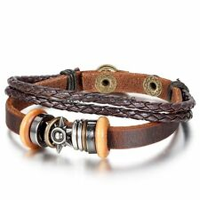 Mens Womens Metal Tribal Sun Surfer Leather Braided Cord Bracelet Cuff Bangle