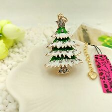 Betsey Johnson Christmas tree Crystal Pendants chain charm Long necklace GG121