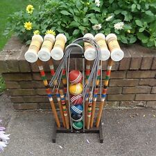 Vintage 6 Player Forester WOOD Croquet Set Wood Balls Classic WITH STAND
