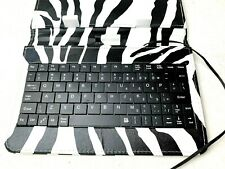 "Linsay 7"" Tablet Case With Keyboard Black White Zebra Print - Works"