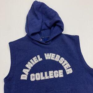 VTG 80s Daniel Webster College Sleeveless Champion Hoodie Adult S Blue USA Rare