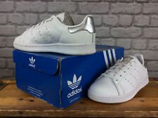 Adidas Femmes UK 4 EU 36 2/3 Blanc Argent Stan Smith Baskets RRP £ 67 Perforé
