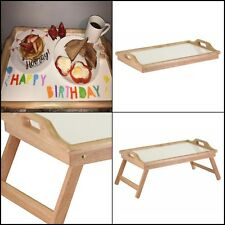 Breakfast In Bed Tray with Handle Foldable Legs TV tray Lap Table Serving Tray