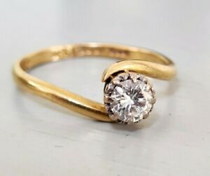 Vintage 1960's 18ct Yellow Gold Solitaire Diamond Twist Engagement Ring 0.50 ct.