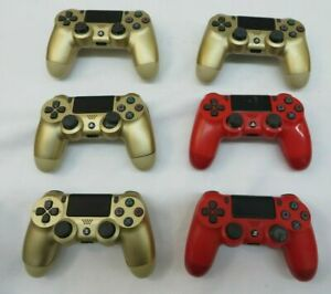 Lot of 6 Sony Playstation 4 PS4 Wireless Controllers Parts/Repair Gold & Red (E)