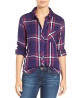 ANTHROPOLOGIE $148 Rails Hunter Plaid Shirt Top in Ruby / White Size XS