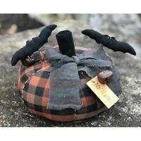 """New Primitive Halloween NO TRICKS BAT PUMPKIN Stuffed Fabric Doll 10"""""""