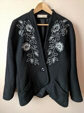 80s vintage 40s style black jacket wool & cashmere blend black embroidered coat