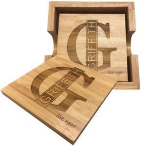 Personalized Bamboo Name Coaster - Set of 4.