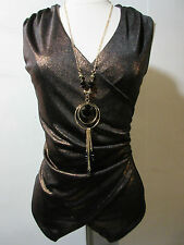 Top Large Black Gold Metallic Low Cut V Neck Asymmetrical with Jewelry NWT G98
