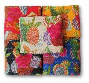 Women Hand Block Print Kantha Quilt bed cover throw Blanket Indian Bedspread