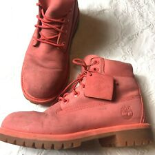 """Timberland Pink Leather Suede Boots Hiking Womens Sz 4 6"""" A1LQM"""