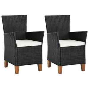 Outdoor Chairs with Cushions 2 pcs Poly Rattan Black