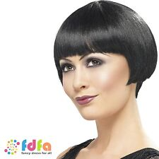 20s BLACK FLAPPER SHORT BOB WIG CHARLESTON GANGSTER - womens ladies fancy dress