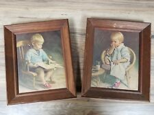 Vintage Set of 2 12� x 10� Solid Wood Framed cute Baby kids Pictures.