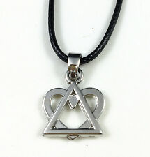 Antique Silver Plated Adoption Symbol Triangle Heart Small Pendant Necklace