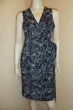 ANN TAYLOR Loft Black White Floral Print Stretch Knit Classic Wrap Dress 6P