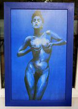 Blaue Frau, auf Leinen im Holzrahmen, Jürgen Schmitz, 90 x 58 cm, Akt & Erotik