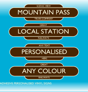 2x Personalised Novelty Vintage Railway Station Signs Train Vinyl Stickers