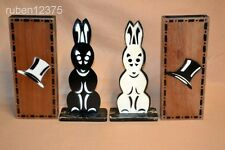 Vtg Pair of Abbotts Hippity Hop Color Changing Bunny Rabbit Wood Box Magic Trick