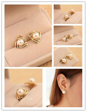 1 Pair Women Korean triangle Stud Earrings Gold Filled White Freshwater Pearl