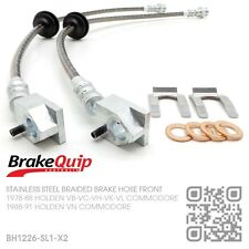 BRAIDED STAINLESS FRONT BRAKE HOSES [HOLDEN VK COMMODORE w/ STD CALIPERS] SILVER