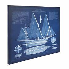 Antique Ship Blueprint 24x30 Canvas Wall Art Blue and White
