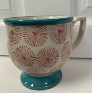 The Pioneer Woman Footed Coffee Mug Teal Trim Red Starburst Wide Rim