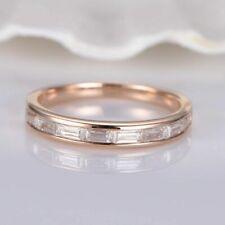 1.00 ct Baguette Cut Diamond Solitaire Rose Silver Ring VVS1/D New Ring