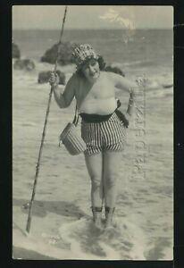 CA Los Angeles RPPC c.1922 MACK SENNETT BATHING BEAUTY FISHING Risque PCCO No.98