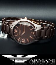 EMPORIO ARMANI MEN'S BROWN ULTRA SLIM CERAMIC WATCH AR1444