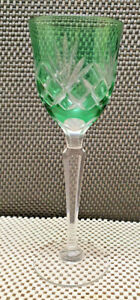 Antique Glass A Foot Crystal saint louis Or Baccarat Green Decoration Cut