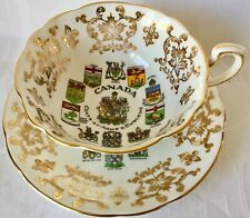 GORGEOUS PARAGON CUP & SAUCER, CANADA COATS OF ARMS & EMBLEMS, GREAT CONDITION