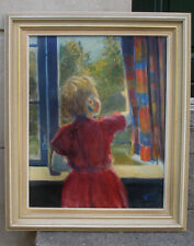 Young girl at the Window. Danish school painting. Signed.