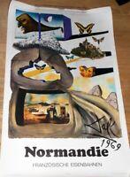 """Plakat Französische Eisenbahnen SNCF """"Normandie"""" von Salvador Dali 1969 63x100cm"""