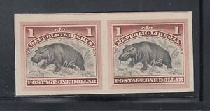 Liberia # 47 Mint COLOR TRIAL IMPERF PAIR BROWN Fauna HIPPO 1892 Waterlow