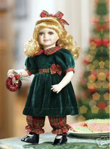 """Rachel Porcelain Doll, Green & Red w/Ornament Heritage Signature Collection 13"""""""