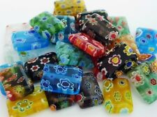 30 pce Rectangle Millefiori Glass Spacer Beads 14mm x 10mm Jewellery Making