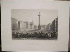 Antique Print SACKVILLE STREET O'Connell Dublin Ireland Engraving 1841 Bartlett