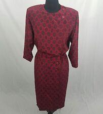 Liz Claiborne Vintage Retro 100% Silk Red Patterned Sheath Dress