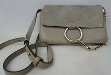 Chloe Small Faye Suede & Leather Motty Grey Gray Crossbody Bag Purse.