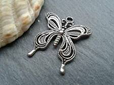 Antique Silver Butterfly Charms 10pcs D2 Steampunk Pendant Vintage Filigree