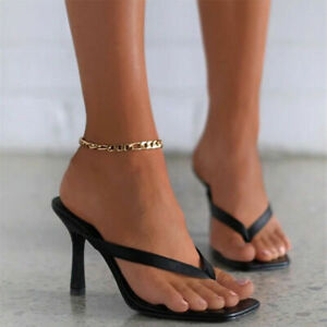 Women Stiletto Mules Square Open Toe Sandals Elegant Flip Flops Elegant Slippers